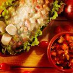 Salada de batata, tomate, maçã e abacaxi